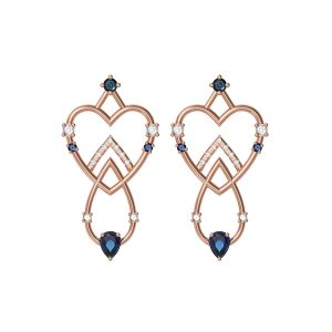 Interlocking Hearts with Sapphires Earrings by Alexia Gryllaki