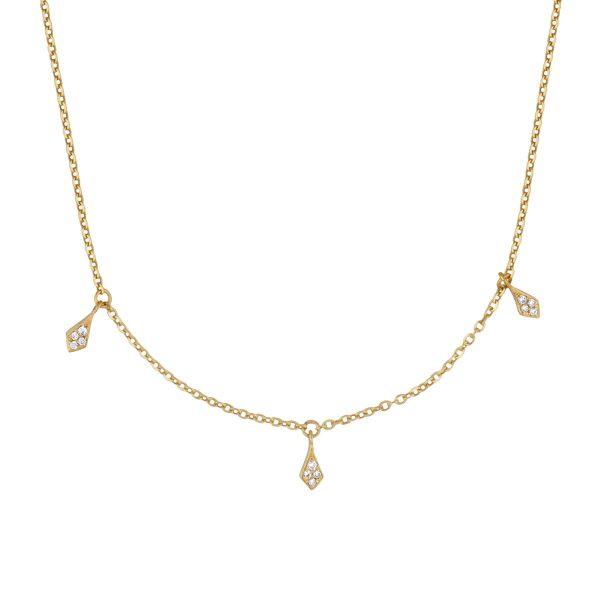 Three Diamond Kites on a Chain Necklace by Iris Degres